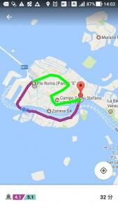 緑が大運河経由。紫が私の使った地元民ルート。